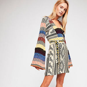 Free People Patchwork Sweater Dress Bell Sleeve